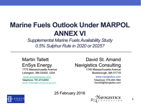 Marine Fuels Outlook under MARPOL Annex VI