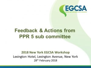 NEW YORK EGCSA WORKSHOP 28February2018